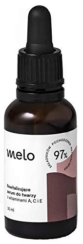 Melo serum facial revitalizante con vitamina C, A, E y aceites naturales, serum antiarrugas e hidratante, cosméticos naturales para la piel grisácea, seca, vegano 30 ml