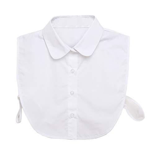 Hocaies Frauen Kragen Vintage Elegante Abnehmbare Hälfte Shirt Bluse Cotton Kragen Weiß Damen Blusenkragen (Rundhalskragen)