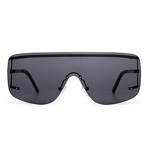 JIM HALO Oversized Schild Sonnenbrille Flach Top Gradient Linse Randlos Brille Damen Herren(Schwarz/Grau)