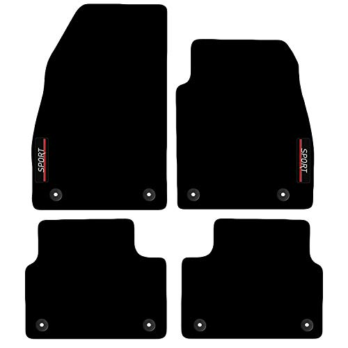 Carsio Tailored Carpet Car Floor Mats with logo FOR Vauxhall Insignia 2013 to 2017 8 clips
