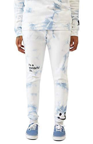 PacSun Men's Tie-Dyed It's A Wonderful Life Sweatpants - White/Blue Size Medium