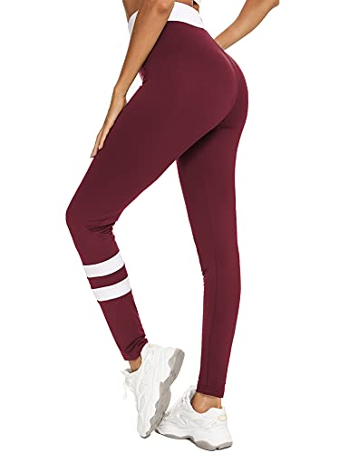 Wayleb Leggings Mujer Mallas Verano Yoga Pants Leggins Deporte Pantalones Deportivos Cintura Alta Suaves Elásticos Transpirables Fitness Pilates,Vino Rojo + Blanco,XL
