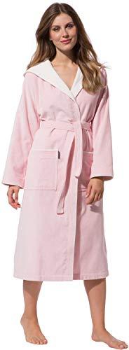 Morgenstern Bademantel für Damen aus Baumwolle mit Kapuze in Rosa Dusch Bademantel wadenlang Damen Duschmantel Frottee Größe S Leonie