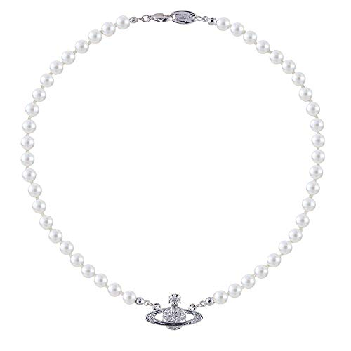 SAIBANGZI - Collana di perle bianche con ciondolo a forma del pianeta Saturno, con cristalli di strass, idea regalo per fidanzata, migliore amica, compleanno, anniversario, color argento