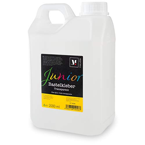 Malverk Junior - Bastelkleber Transparent Flüssig - 2000ml Lösungsmittelfreier Kleber für Kinder geeignet - auf Wasserbasis