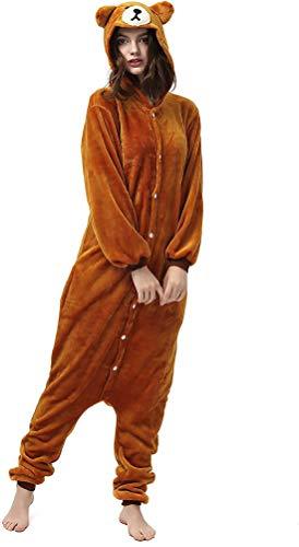 Pijama Animal Entero Unisex con Capucha Cosplay Pyjamas Ropa de Dormir Traje de Disfraz para Festival de Carnaval Halloween Navidad (Oso Pardo Marrón, 130)