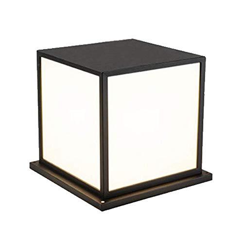 QEGY LED Lámpara de Columna Farol Exterior Negro Moderno E27 Lampara de Jardin con 3 Colores Ajustable 12W Aluminio Faros de Columna Impermeable Farolas Jardín Paredes Patio Iluminación