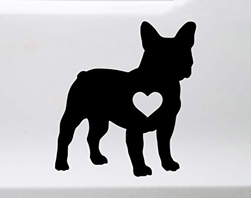 Minglewood Trading White - French Bulldog Heart Vinyl Decal - Frenchie Love Dog Puppy - Die Cut Sticker - 4.5w x 5h inches