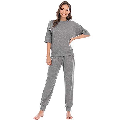 Pijamas Mujer Camisón Otoño Invierno 2 Piezas Conjunto De Pijamas Mujeres Niñas Algodón Cuello Redondo Conjuntos De Pijamas Ropa De Dormir Casual Ropa L Pijamas Grises