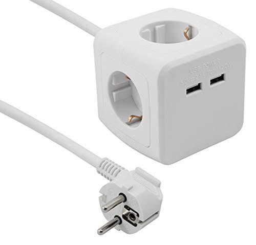 Cubo de enchufe cuádruple con 2 puertos USB, cable de 1,5 m