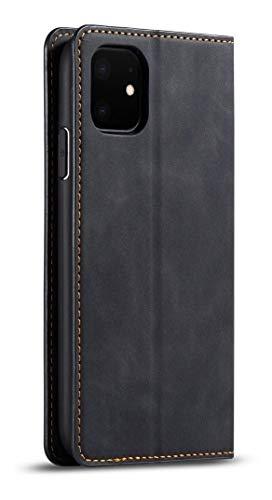 EHV Funda Case Flip Cover Piel para iPhone 11, 11 Pro, 11 Pro MAX Premium Anti rayones Slim Protector Tipo Cartera contra Golpes y Rayones Elegante, Resistente - Negro - iPhone 11 Pro MAX