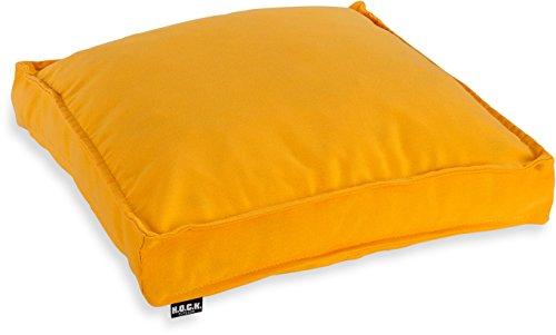 H.O.C.K. Classic Uni Outdoor Sitzkissen Stuhlkissen für drinnen und draußen aus 100% Polyacryl(dralon®) – in verschiedenen Farben (50x50x5cm, gelb)