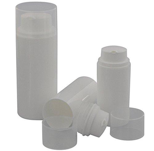 Drei leere Kosmetex Cremespender, Airless Cremepumper, Lotion- und Gelspender zum selbst Befüllen, 3x 50ml