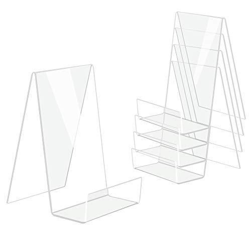 DesignSter 5PCS Soporte de libro de acrílico transparente, Estantería de acrílico transparente, Mesa de soporte de libro, Álbum de imágenes y Soporte de folleto para mostrar libros, etc.