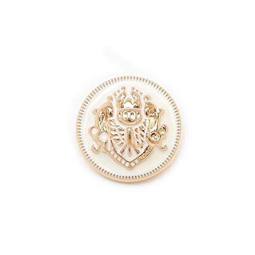 Home 5 stks Lion Enamel Metal Knoppen voor Naaien Plakboek Jas Blazer Truien Gift Crafts Handwerk Kleding 10-25mm, Wit goud, 10mm