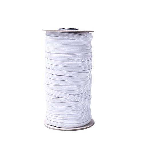 100Yard Lengt 1/4 Inch Width Braided Knitted Elastic Band White Elastic Cord Heavy Stretch High Elasticity Knit Elastic Band for Sewing Crafts DIY, Mask, Bedspread