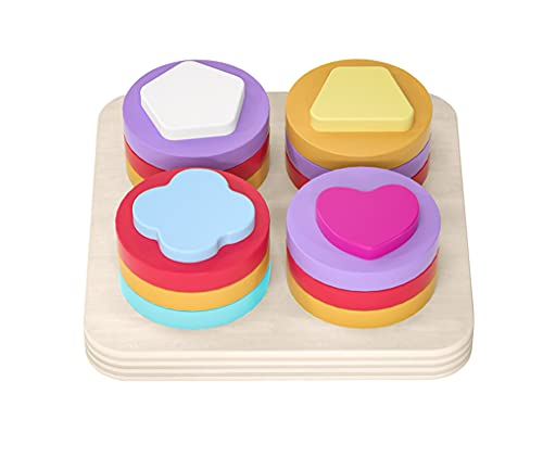 Yx-outdoor Montessori Color Recognition Stack Sort Toy,Children's Early Education Puzzle Fun Set of Columns,Wooden Geometric Shape Sorting Board Toys