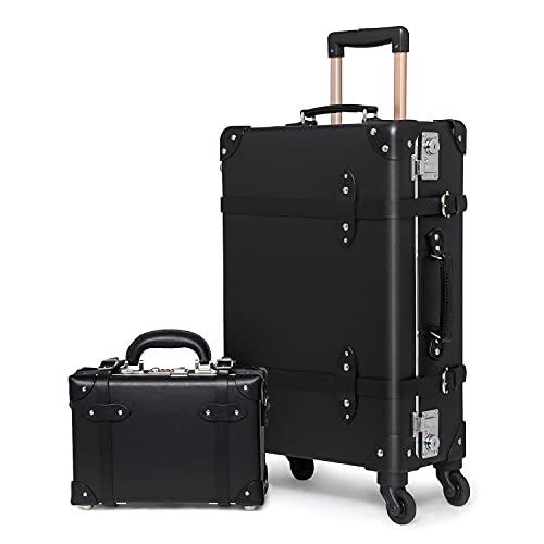 "Boutique Equipaje Retro Maleta con Barra telescópica Maleta rígida Personalizada con Cerradura TSA para Viajes de Negocios (Negro, 12""+24' (67 x 37 x 22 cm))"