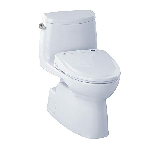 TOTO MW614584CEFG#01 WASHLET+ Carlyle II One-Piece Elongated 1.28 GPF Toilet and WASHLET S350e Bidet Seat, Cotton White