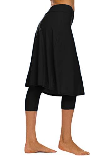 Akaeys Women's Modest Extra Long Swim Skirt with Capris Leggings Active Skirted Swimwear Black