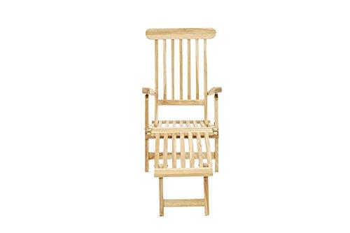 Ploß Outdoor furniture Titanic Deckchair, Eco Teak Natur, 166 x 60 x 96 cm