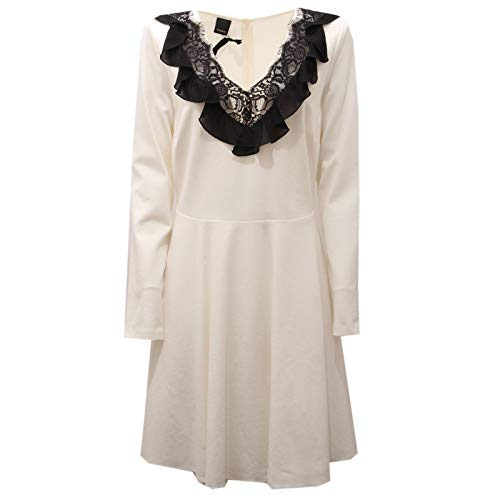 Pinko 6218AC Abito Donna Vestito Pizzo White/Black Dress Women [IT 42]