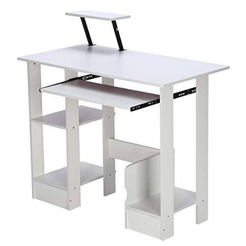 Strong Bearing Computer Desk, Harapu Home Office Storage Shelves Study Workstation Laptop Table, L90 x W48 x H73 cm, Warm White