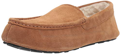 Amazon Essentials Men's Leather Moccasin Slipper, Chestnut, 8 M US