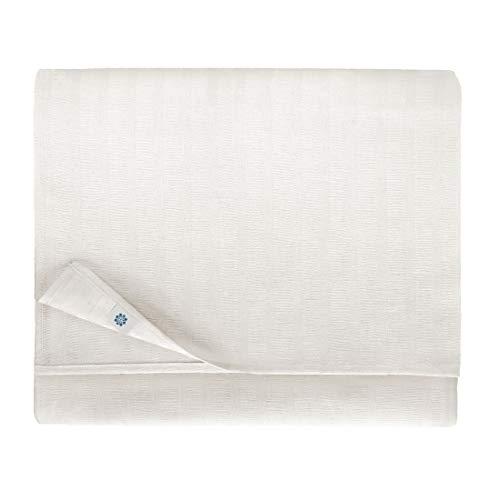Linen & Cotton Tovaglia da Tavola Elegante in Tessuto Jasmine - 48% Lino, 52% Cotone, Bianco (150 x 400 cm) Tovaglia Rettangolare Grande Lunga per Matrimonio Banchetto Compleanno Ristorante Albergo