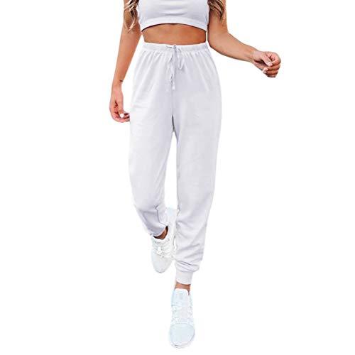Tomwell Damen Jogginghose Sporthose Freizeithose Baumwolle Elastischer Bund Trainingshose Sweatpants mit Taschen Weiß XXL
