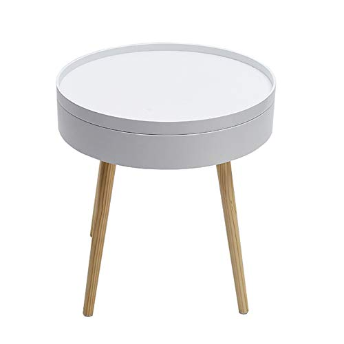 Axdwfd bijzettafel massief hout bijzettafel en opbergtafel, woonkamer koffietafel, slaapkamer nachtkastje – MDF/dennen – wit