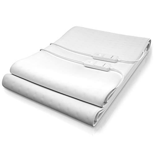 Brandson - Wärmeunterbett für 2 Personen - 2 Temperaturzonen - mit Abschaltautomatik - 160x140cm - Schnellheizung - Heizdecke Wärmedecke elektrisch - 2 digitale Bedieneinheiten - Überhitzungsschutz