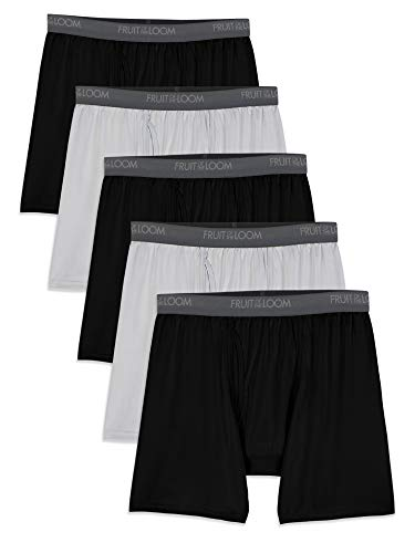 Fruit of the Loom Men's Micro-Stretch Boxer Briefs, black/Gray, 2X-Large
