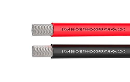 Preisvergleich Produktbild 8-Gauge-Elektrokabel,  Batteriekabel [1, 5 m Schwarz und 1, 5 m Rot] 8 AWG Silikon-Draht -1650 Litzen aus verzinntem Kupferdraht,  schnell durchlöten