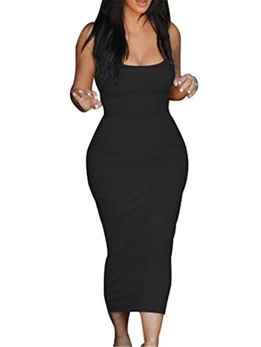 GOBLES Women's Casual Bodycon Clubwear Low Cut Elegant Pencil Tank Midi Dress Black