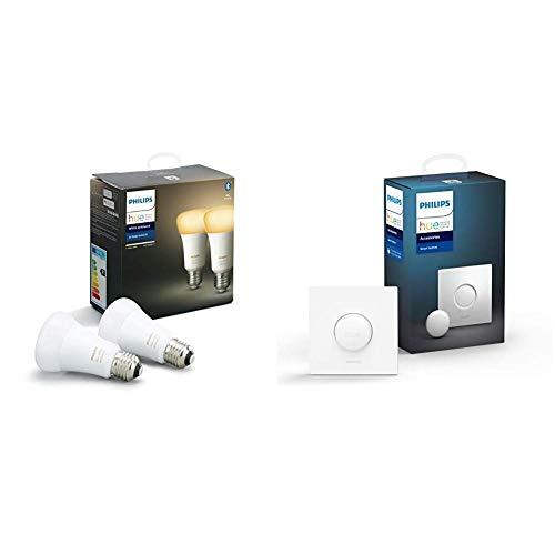 Philips Hue White Ambiance - Paquete de 2 bombillas LED inteligentes E27, luz blanca de cálida a fría, compatible con Bluetooth y Zigbee + Botón/Interruptor Smart Button