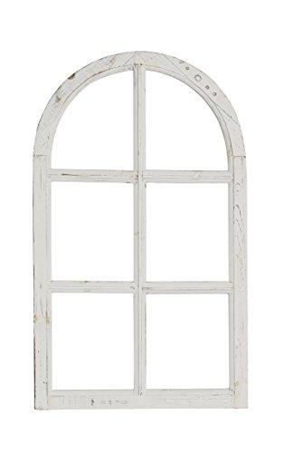 Nostalgie Holz Deko Fenster weiß gewischt halbrund 42 x 2 x 70 cm