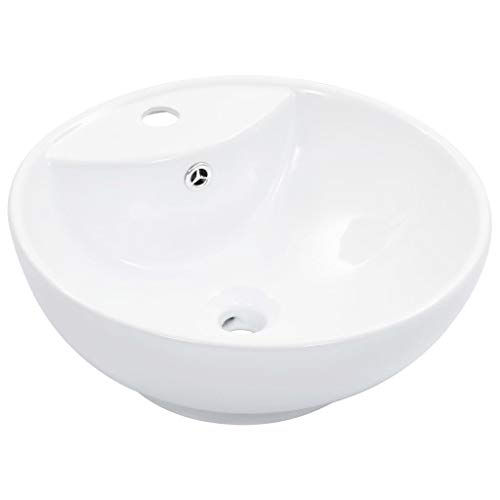 vidaXL Waschbecken mit Überlauf Aufsatzwaschbecken Waschtisch Waschplatz Handwaschbecken Waschschale Becken Badezimmer 46,5x18cm Keramik Weiß
