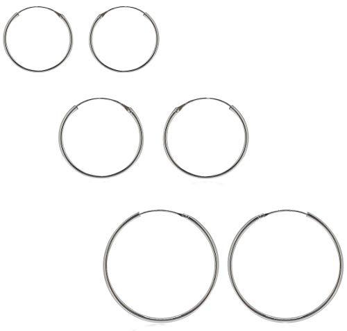 ENTREPLATA Lote de Tres Pares de Pendientes Plata de Ley 925 Aro de 12, 14 y 16 mm.