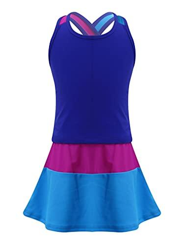 FEESHOW Mädchen Tennis Kleidung Sport Tennisrock mit Kurzarmshirt Elastischem Bund Rock Fitness Workout Yoga Running Outfit Set Königsblau_B 122-128