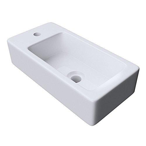 Durovin bagni, Bruessel, solido lavabo in ceramica, 3053R, forma rettangolare, piccolo e compatto 360x 95 mm, bianco lucido da parete, Solo lavandino