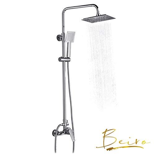 Columna de ducha multifuncional cuadrado con grifo Monomando, Set de ducha con barra de latón cromado, soporte de pared inoxidable