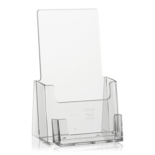 taymar DIN Lang (DL) Tisch-Prospektständer mit extra Visitenkarten-Halter, Flyerhalter, Prospekthaltermit Visi-Fach