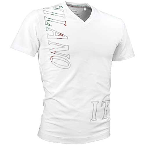 VIOLA rumore ヴィオラ ビオラ Tシャツ Vネック ロゴ メタリックプリント 細身 半袖Tシャツ メンズ ホワイト白 11315 L
