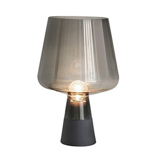 MGWA Lámpara de escritorio retro gris humo dormitorio mesita de noche vino forma de vidrio LED lámpara de mesa creativa hogar sala de estar estudio hotel club decoración lámpara 25 x 38 cm