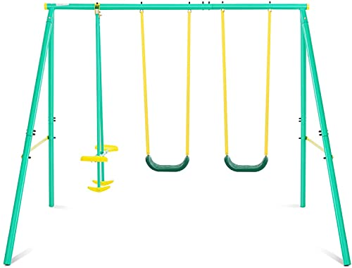 Swing Set 2 Seats with A Swing Glider Outdoor Backyard Playground Metal Swing Sets for 3-12 Year Old Kids, Toddlers