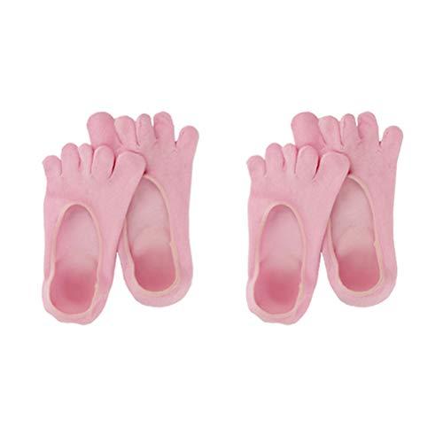 Opplei Feuchtigkeitsspendende Socken 5 Zehen Fußpflege Fersen Socken Fersenschutz Fußbandage Gel Baumwolle 2 Paare Unisex Atmungsaktive Comfy für Lindern Trockene Hart Gerissene Haut