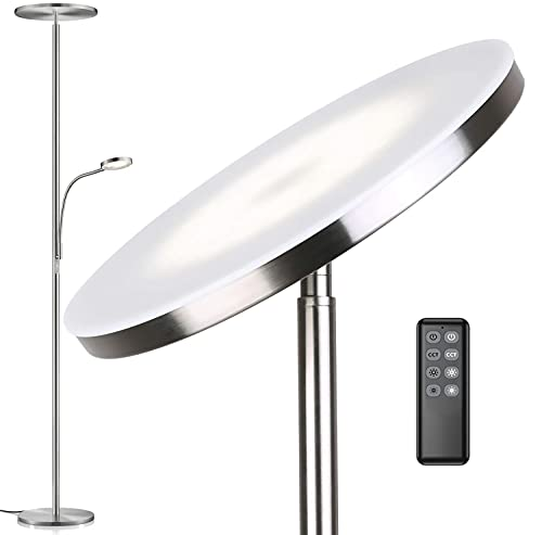 Anten Deckenfluter Klara mit Leselampe | Nickel matt | 30W dimmbare Led Stehlampe mit Fernbedienung | 3 Lichtfarbe | Heilligkeit stufenlos einstellbar | helle Stehlampen für Wohnzimmer Büro.