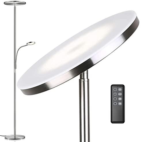 Anten Klara I Lámpara de Pie Salón 30 W I níquel I Incluye lámpara de lectura y mando a distancia I 3 colores de luz regulables (blanco cálido/frío/blanco neutro)