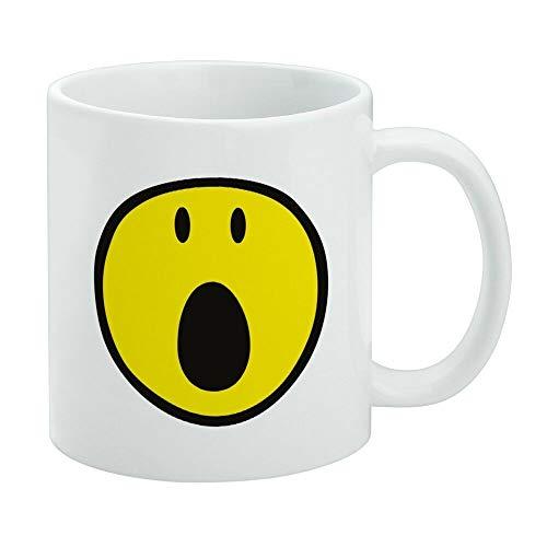 Funny Coffee Mug, Smiley OMG Surprised Shocked Yellow Face White Mug, Tea Mug, Coffee Cup, 11 Oz Coffee Mug Gifts For Women Men